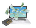 Euro notes flying around the laptop Royalty Free Stock Photo