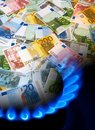 EURO notes and gas burner Royalty Free Stock Photography