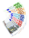 Euro notes group of various arranged as a fan over white Stock Photo