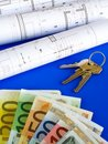EURO notes and plans Royalty Free Stock Photo