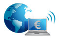 Euro online currency concept Royalty Free Stock Photos