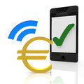 Euro payment with a mobile device Royalty Free Stock Photography