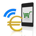 Euro payment with a mobile device Royalty Free Stock Image