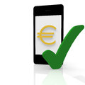 Euro payment with a mobile device Stock Images