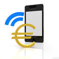 Euro payment with a mobile device Stock Photo