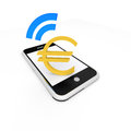 Euro payment with a mobile device Stock Photos