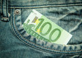 Euro in the pocket of jeans bill Royalty Free Stock Image