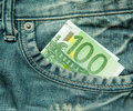 Euro in the pocket of jeans bill Stock Photos