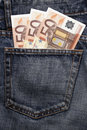 Euro Pocket Money In Blue Jeans Royalty Free Stock Images