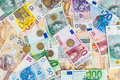 Euro and polish zloty background made of banknotes coins Stock Image