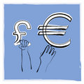 Euro pound Stock Image