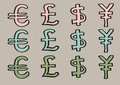 Euro pound dollar and yen signs as currency symbols vector illustration of special characters for set of cartoon in three colors Stock Image