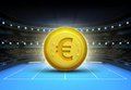 Euro prize money placed on a blue tennis court Royalty Free Stock Photo