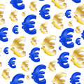 Euro seamless pattern illustration of colorful symbol Stock Photography