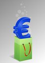 Euro shopper illustration of green with symbol Stock Photography