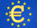 The euro sign against eu flag Stock Photo