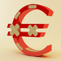 Euro sign with bandage Royalty Free Stock Photo