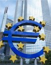 Euro sign by bank building Stock Images