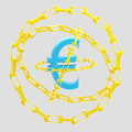 Euro sign encircled with golden chains blue glossy on grey Royalty Free Stock Photos