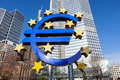 Euro sign at european central bank headquarters in frankfurt germany looking a little worn symbolizing a financial crisis Royalty Free Stock Photo