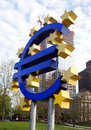 Euro sign the famous big at the european central bank frankfurt germany Stock Image