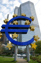 Euro sign the famous big at the european central bank frankfurt germany Stock Photography