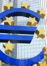 Euro sign the famous big at the european central bank frankfurt germany Royalty Free Stock Image