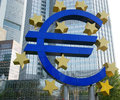 Euro sign the famous big at the european central bank frankfurt germany Royalty Free Stock Photography