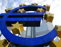 Euro sign the famous big at the european central bank frankfurt germany Stock Photo