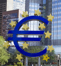 Euro sign in front of the european central bank in frankfurt germany Royalty Free Stock Photos