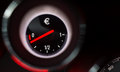 Euro sign fuel gauge nearing empty Stock Photos