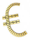 Euro sign gold bars d render isolated on white and clipping path Stock Image