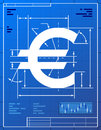 Euro sign like blueprint drawing stylized of money symbol on paper qualitative vector eps illustration for banking financial Royalty Free Stock Image