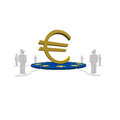 Euro sign in the middle around a group of people Stock Image