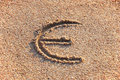 Euro sign in a sand Royalty Free Stock Photos