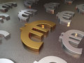 Euro signs d render gold and silver metal floor of depth of field Stock Image