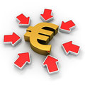 Euro in the spotlight golden symbol surrounded by red arrows Royalty Free Stock Photography