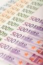 Euro- série da nota de banco Imagem de Stock
