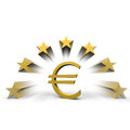 Euro star symbol with stars around Royalty Free Stock Photo