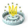 Euro stars and ukrainian coat of arm with trap there is in it Royalty Free Stock Images
