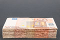 Euro stash of banknotes with copy space above it Royalty Free Stock Photography