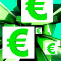 Euro Symbol On Cubes Shows European Profits Stock Photography
