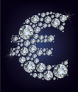 Euro symbol in diamonds. Stock Image