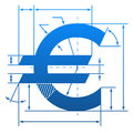 Euro symbol with dimension lines element of blueprint drawing in shape of money sign qualitative vector eps illustration for Stock Photography