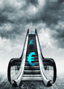 Euro symbol on escalators currency concept inflation and deflation finance and exchange rate Stock Image