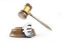 Euro symbol gavel on a white background Stock Photos