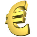 Euro symbol gold in d isolated over white with clipping path Royalty Free Stock Images