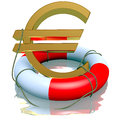 Euro symbol in life-buoy Stock Photo