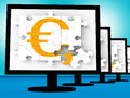 Euro symbol on monitors showing europe profits or interests Royalty Free Stock Image