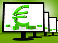Euro Symbol On Monitors Shows European Savings Royalty Free Stock Photos